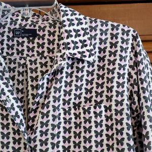 GAP Button-down boyfriend butterfly shirt